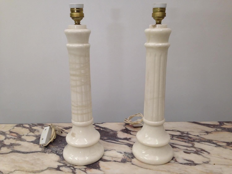Italian white marble column lamps