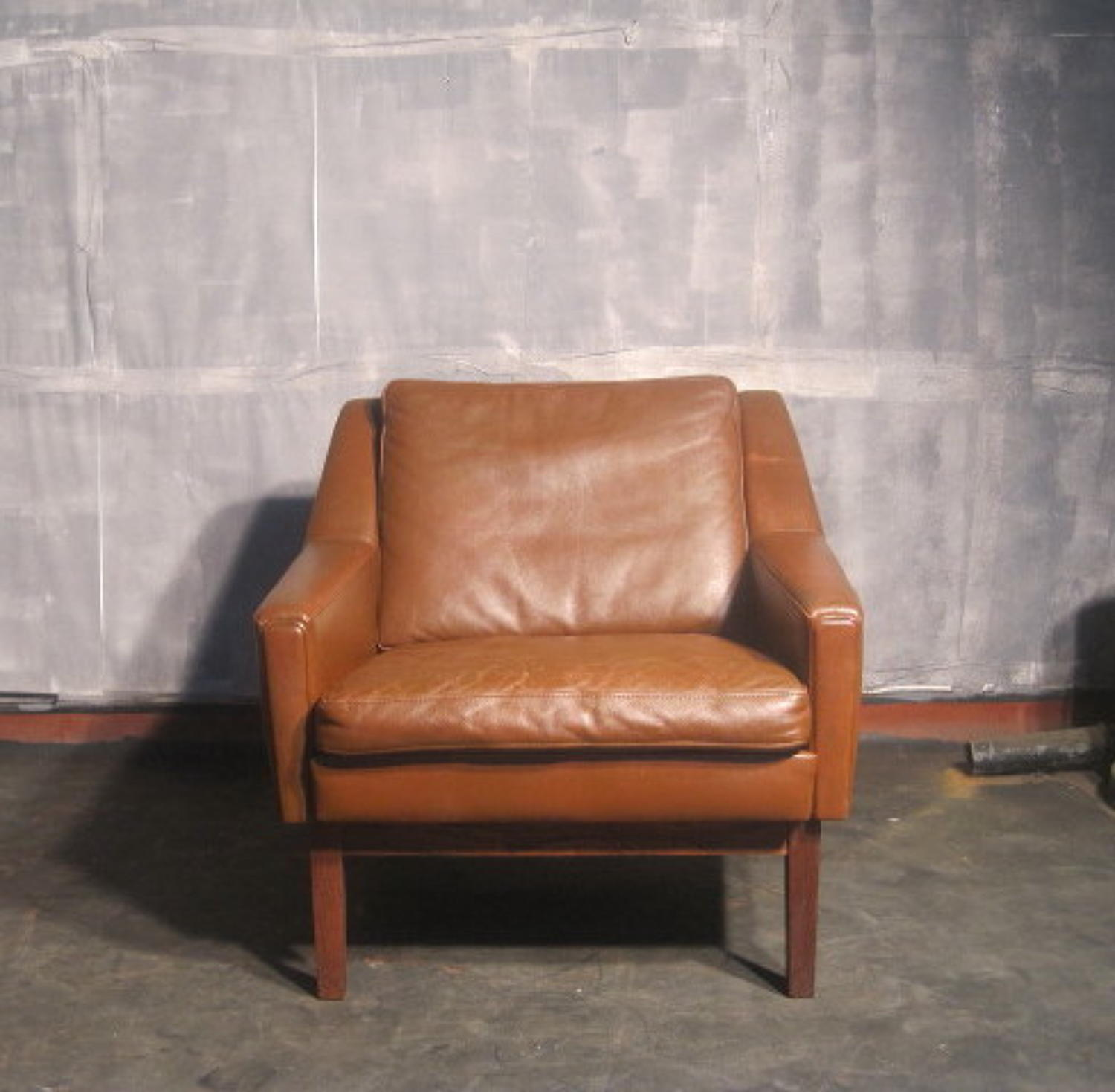 Danish leather low-back armchair