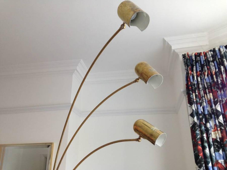 1970s brass three arm arc lamp