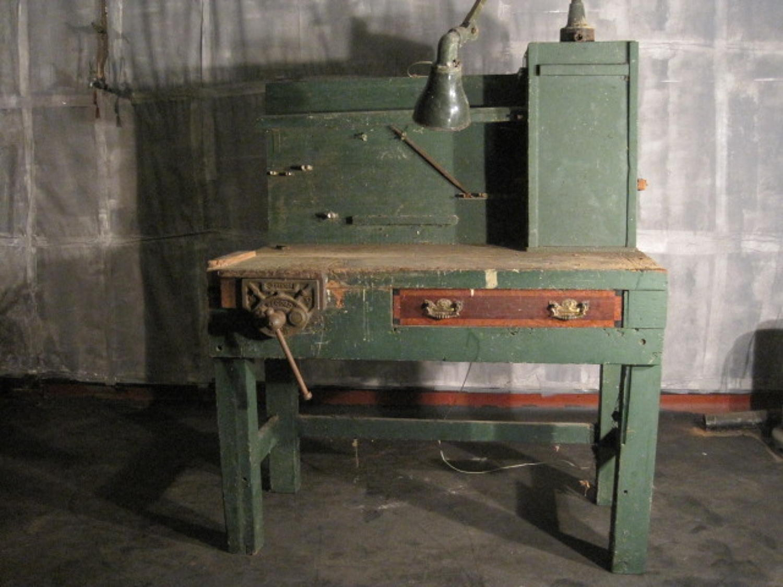 Vintage work bench desk with light