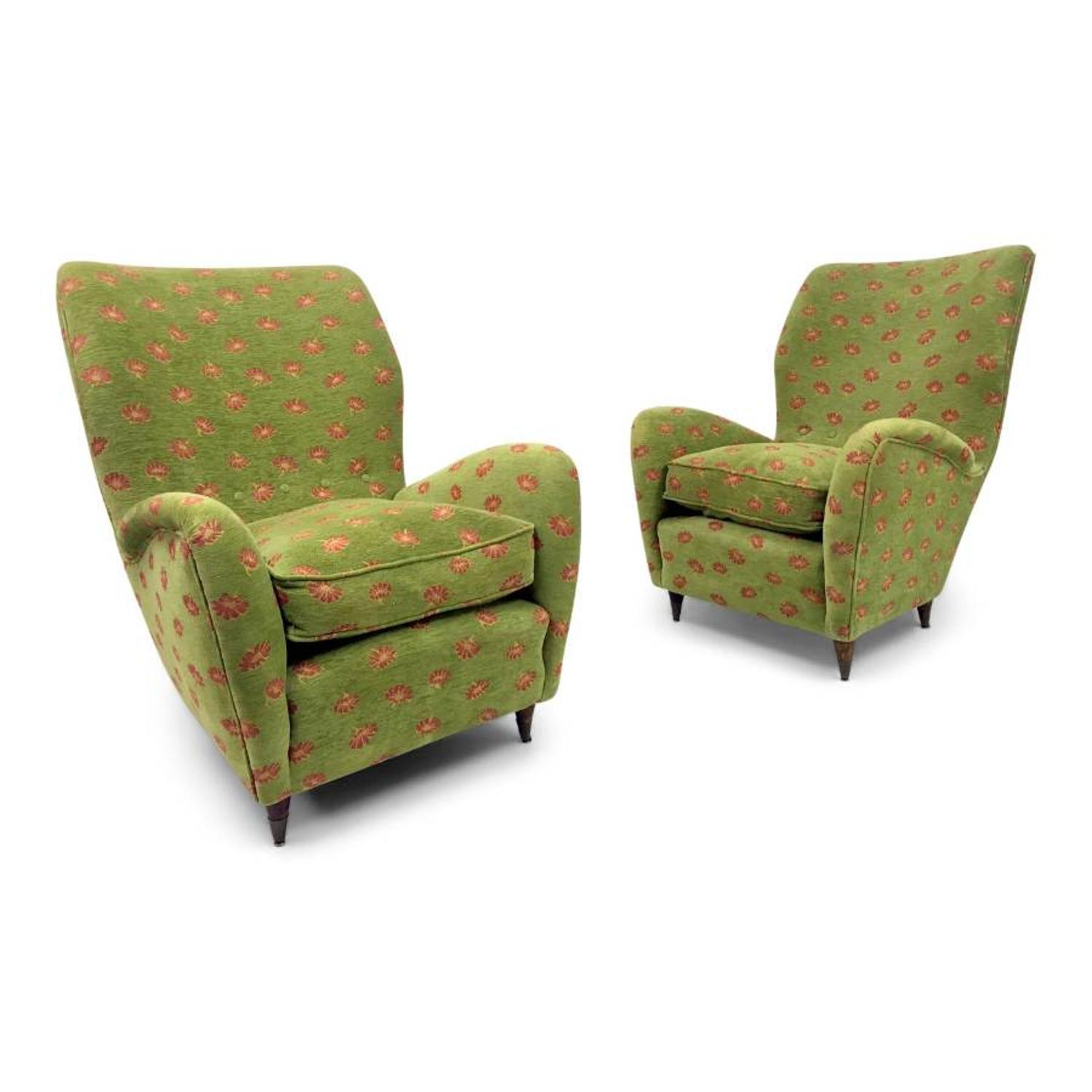 Pair of 1950s Italian armchairs with conical legs