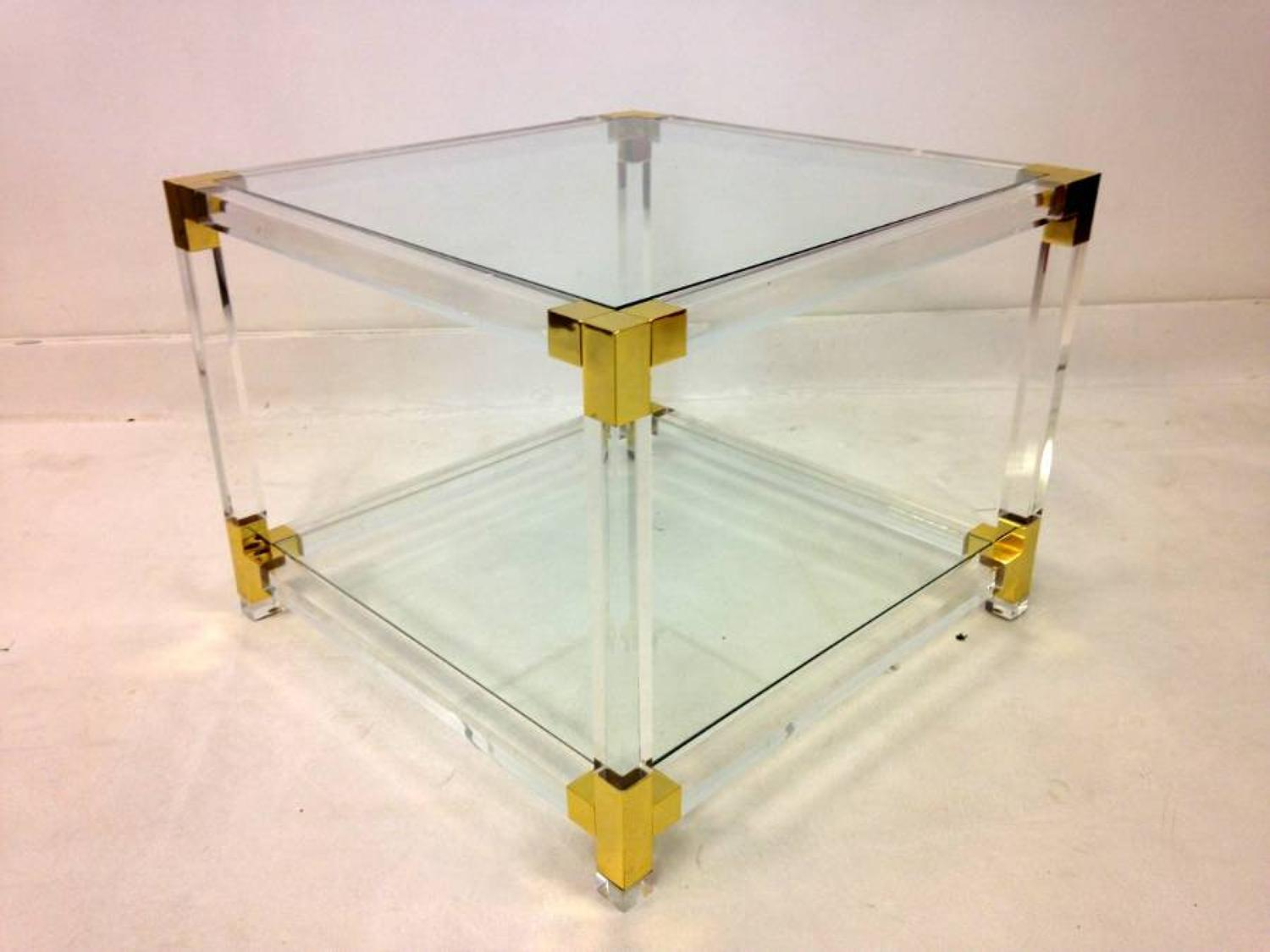Lucite and gilt metal side table