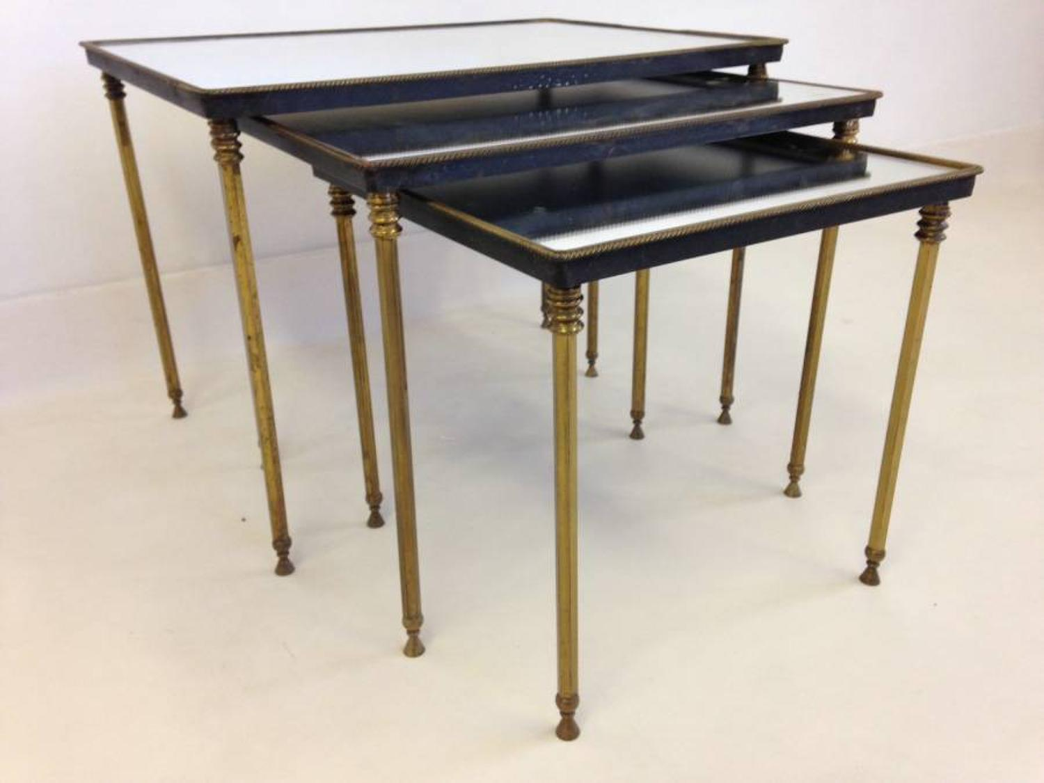 Brass and mirror nest of tables