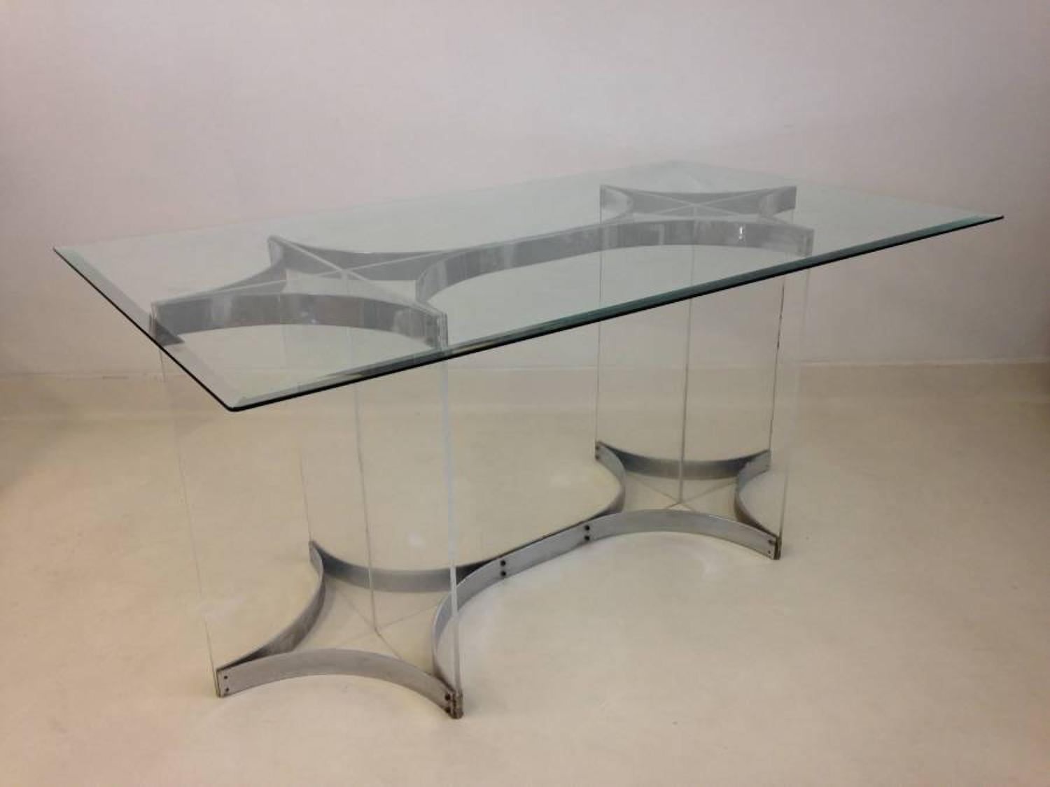 Chrome and lucite desk or table by Alessandro Albrizzi