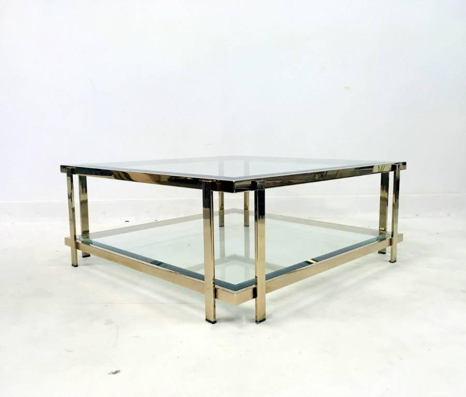 Two tier square gold plated coffee table