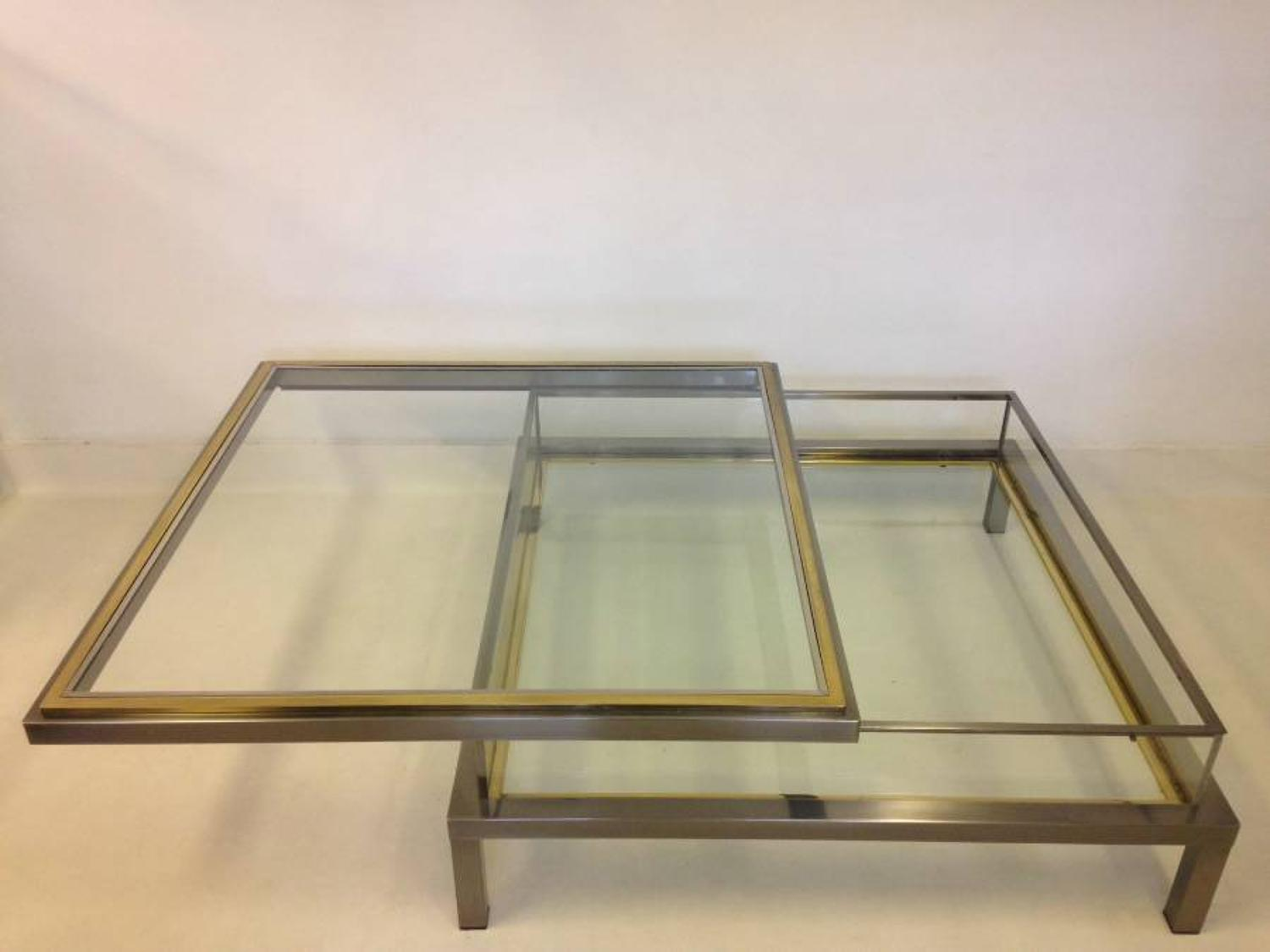 Steel and brass sliding top vitrine table