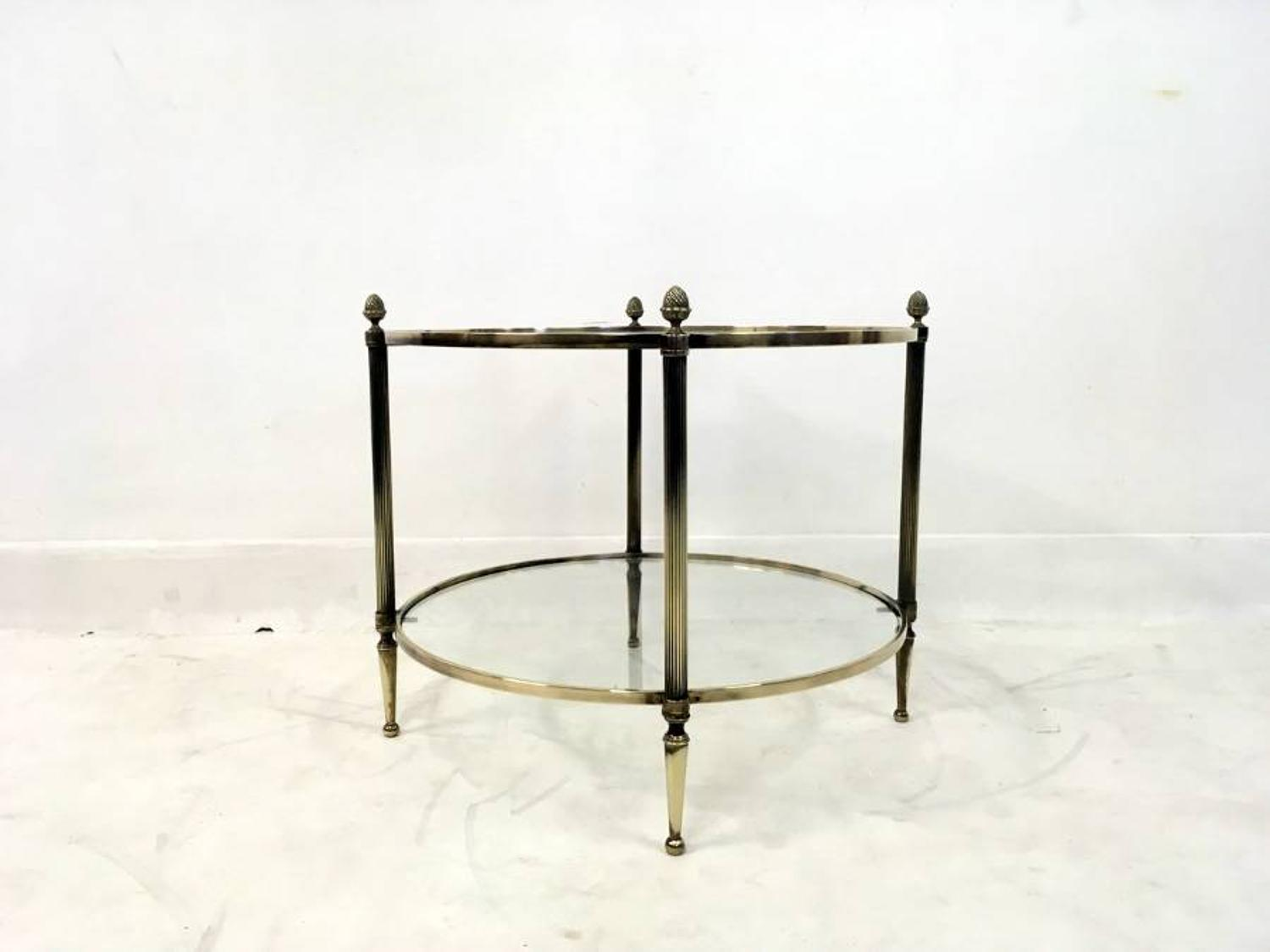French circular two tier brass table