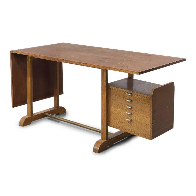 1950s Italian oak extending desk by Alberto Sissel