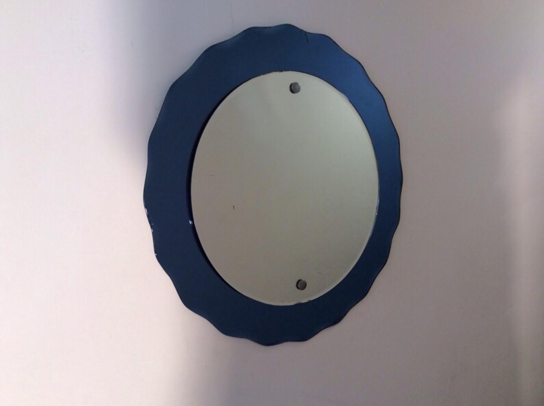 1950s Italian blue edged mirror