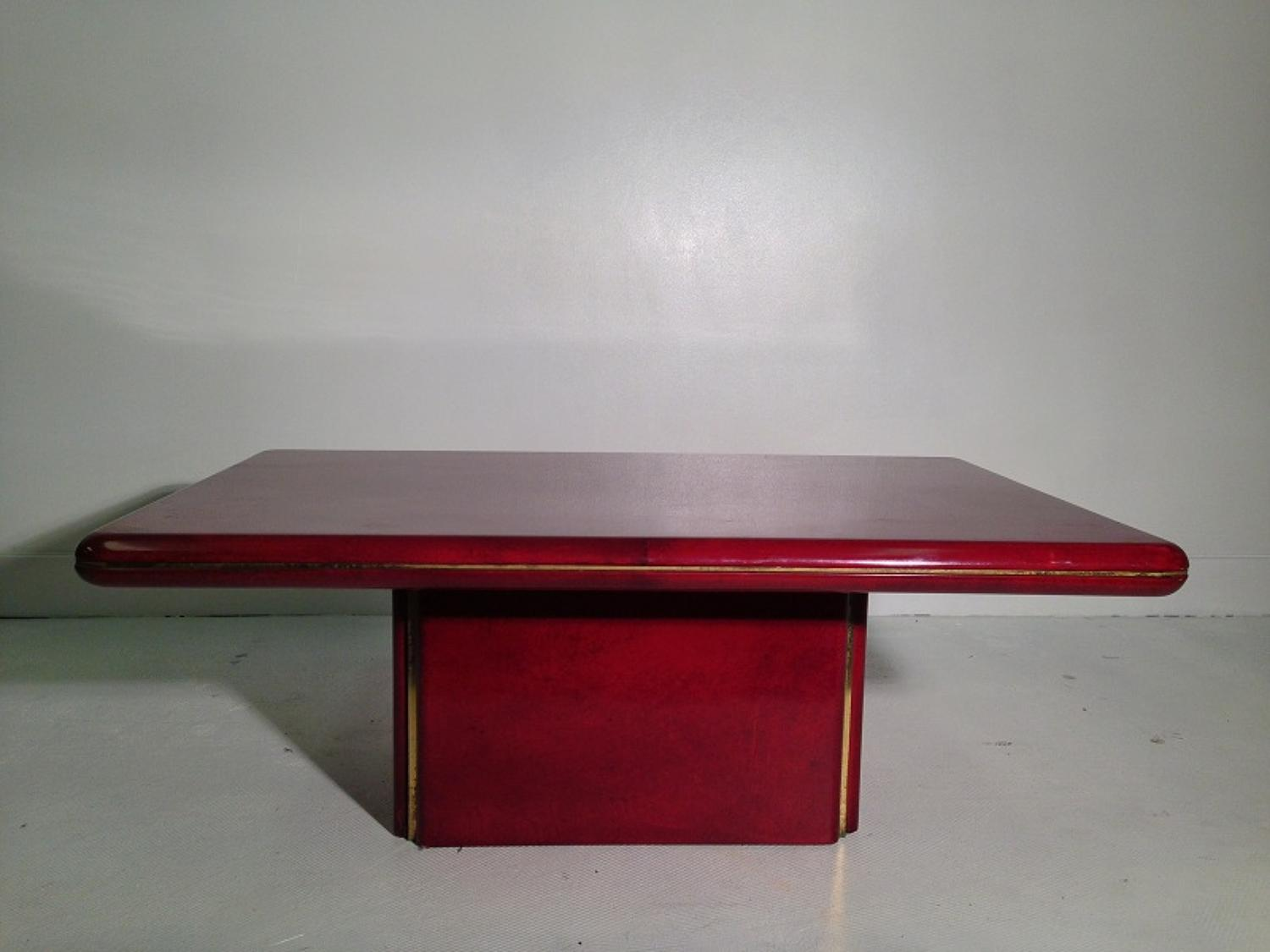 1970s lacquered goatskin coffee table