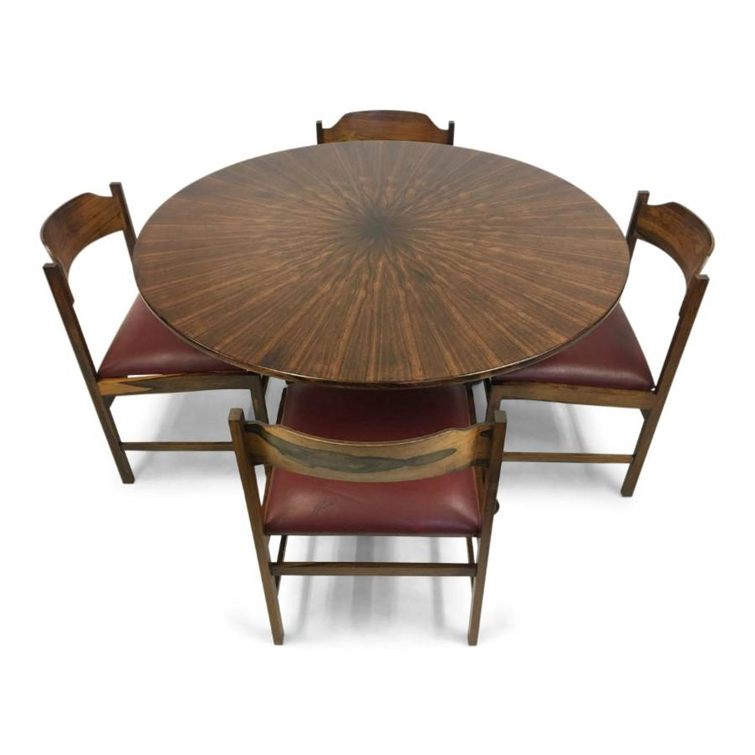 1960s Italian rosewood dining table and chairs