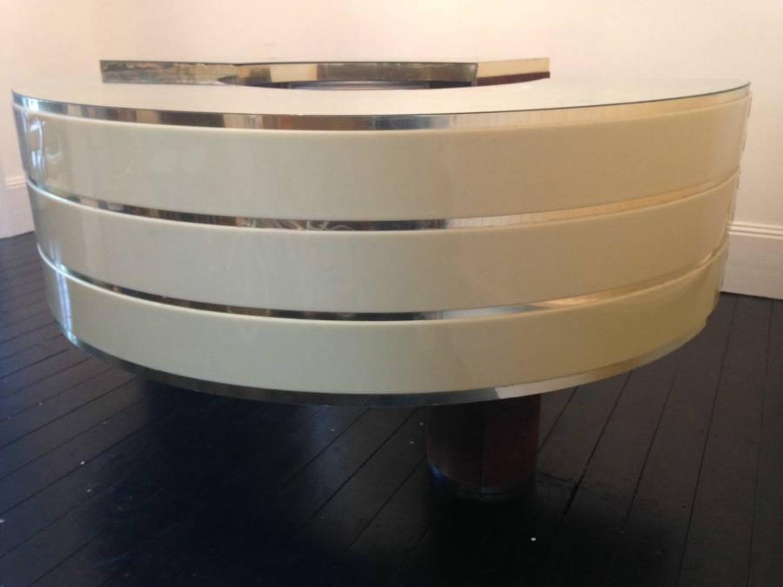 1970s Italian brass and alcantra bar or desk