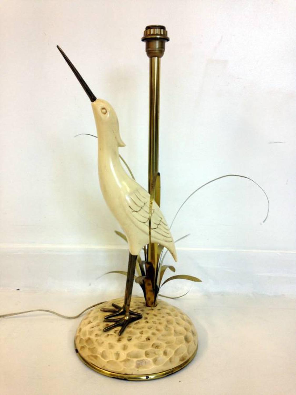 1970s Brass and resin bird lamp