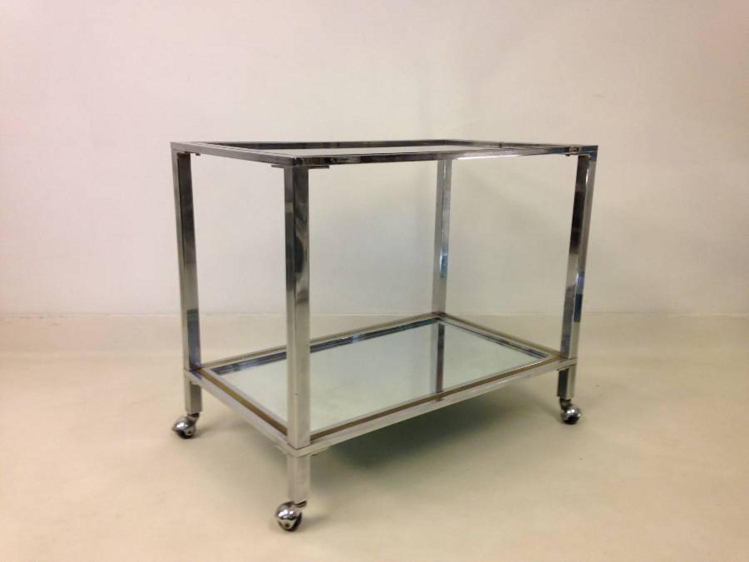 Chrome and brass trolley