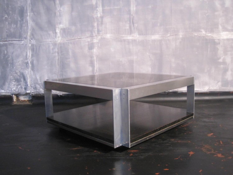 Aluminium and smoked glass coffee table