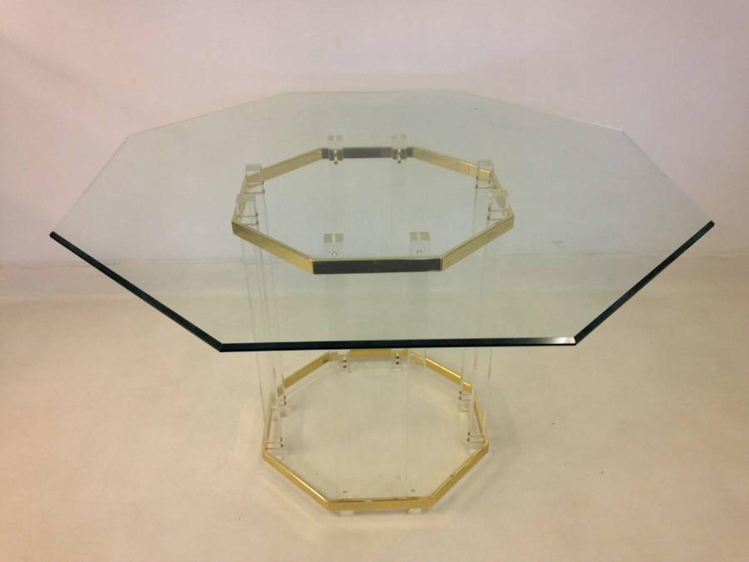 Lucite and gold lacquered brass dining table