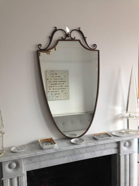 Italian brass shield mirror