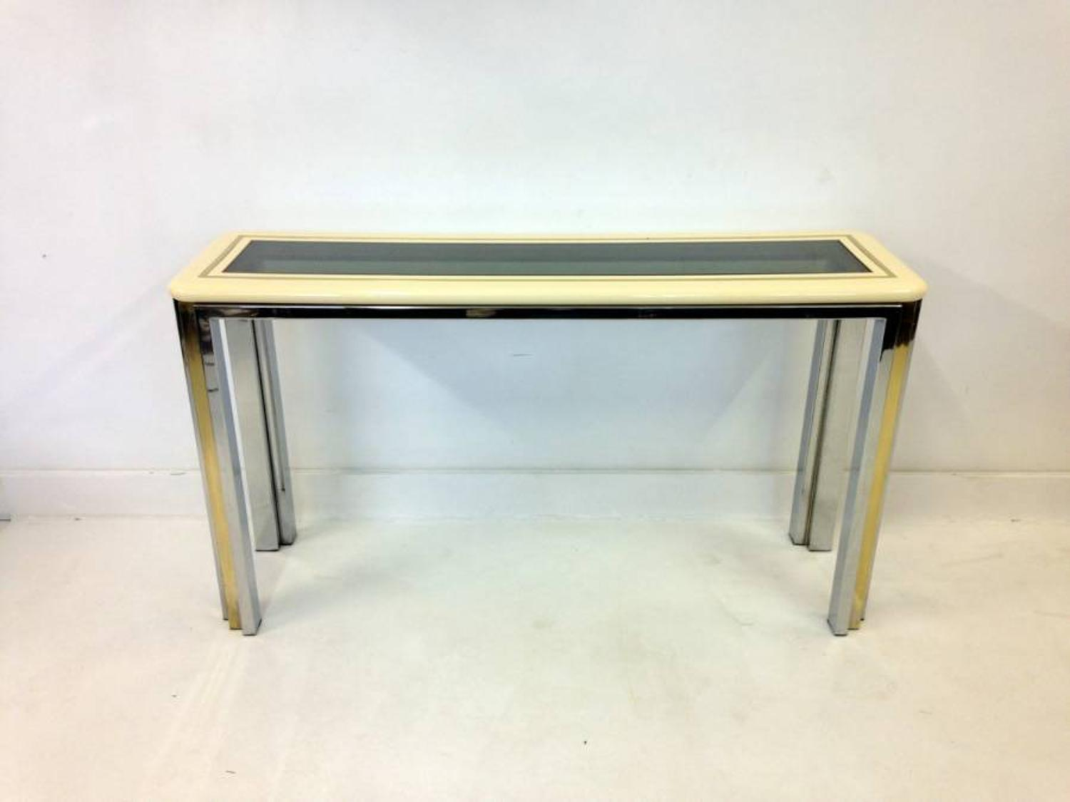 Lacquered console table with chrome and brass