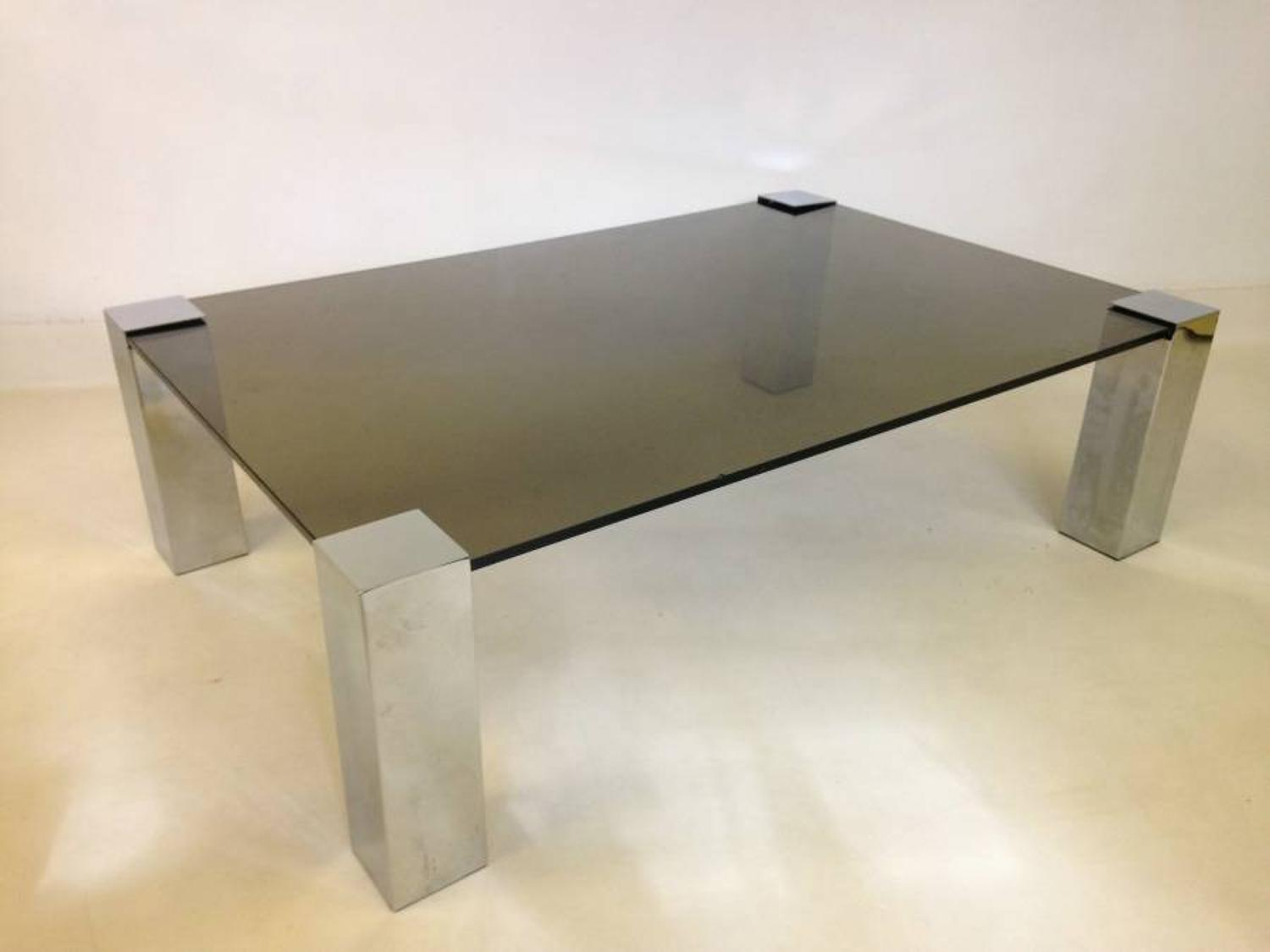 1970s chrome and glass table by Cidue