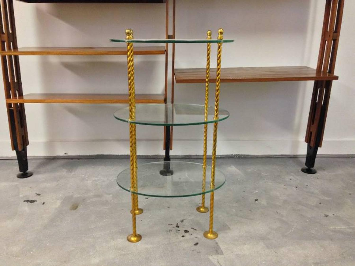 French brass and glass etagere