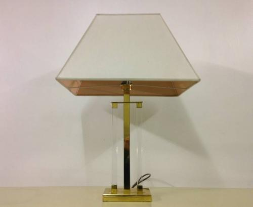 1970s Lucite and brass table lamp