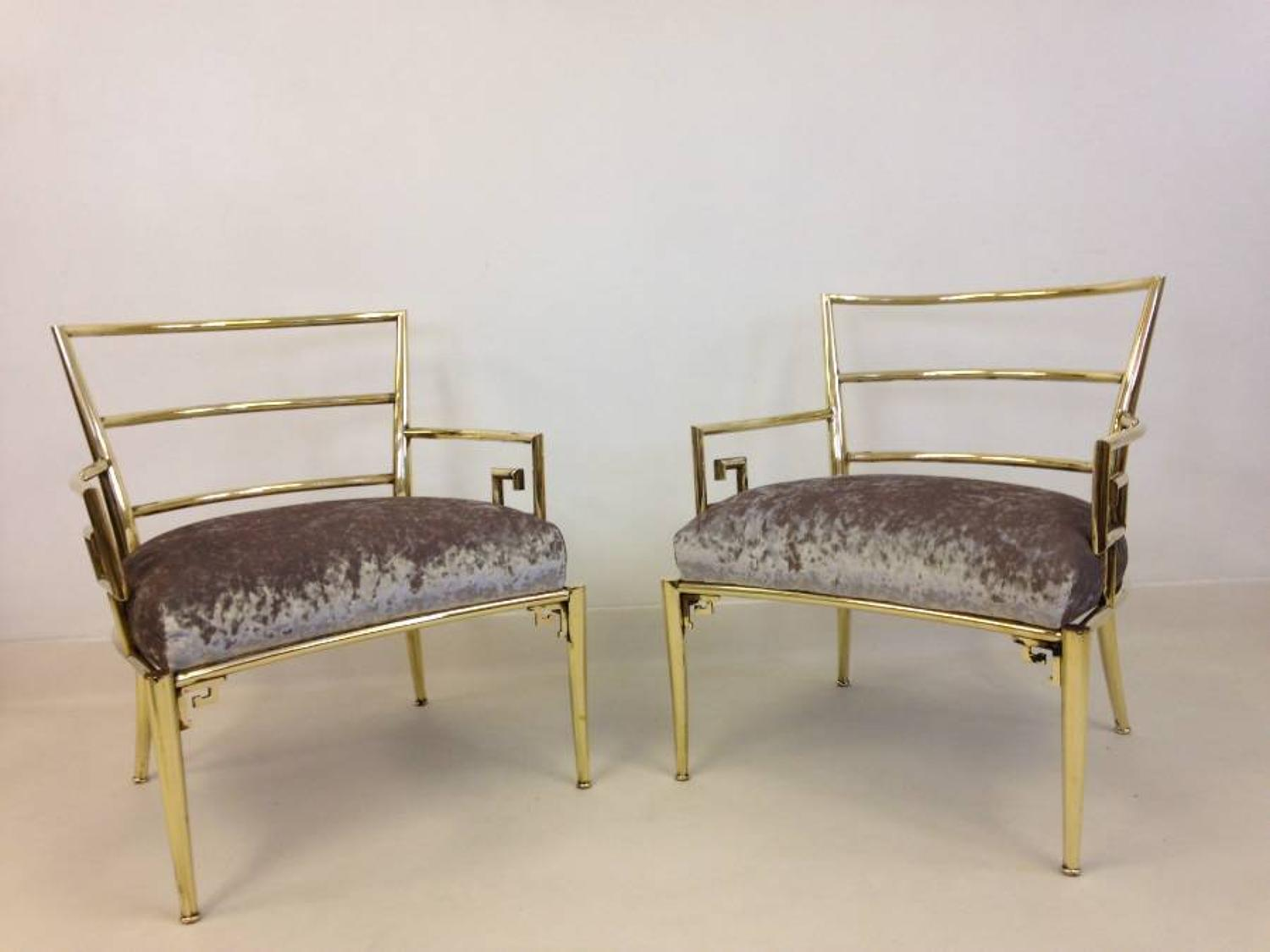 A pair of brass framed armchairs for Mastercraft