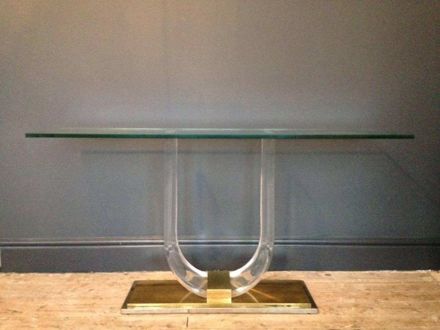 Lucite, gilt and silvered metal console table
