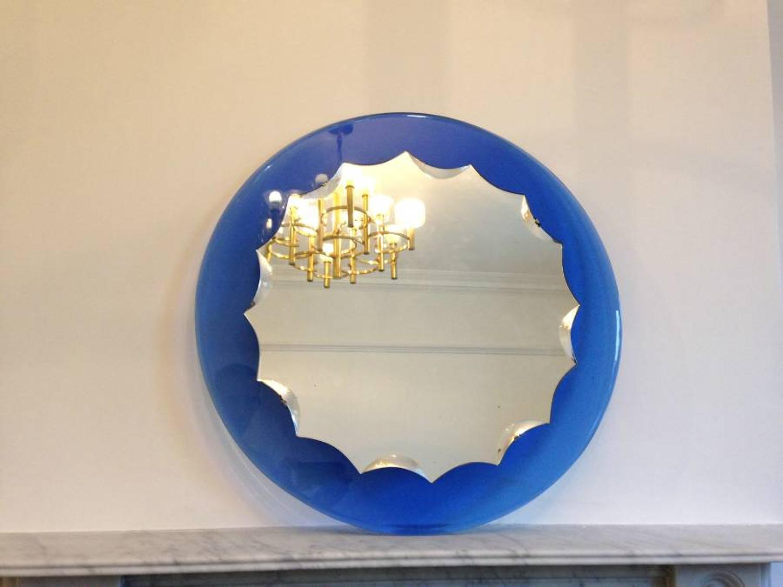 1950s Italian blue bordered mirror
