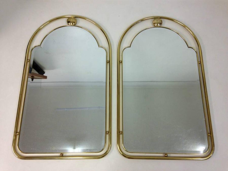 A pair of Italian brass mirrors
