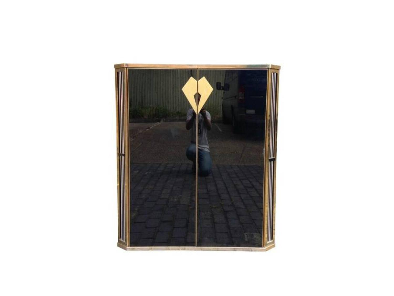 Black glass and brass bar or cabinet