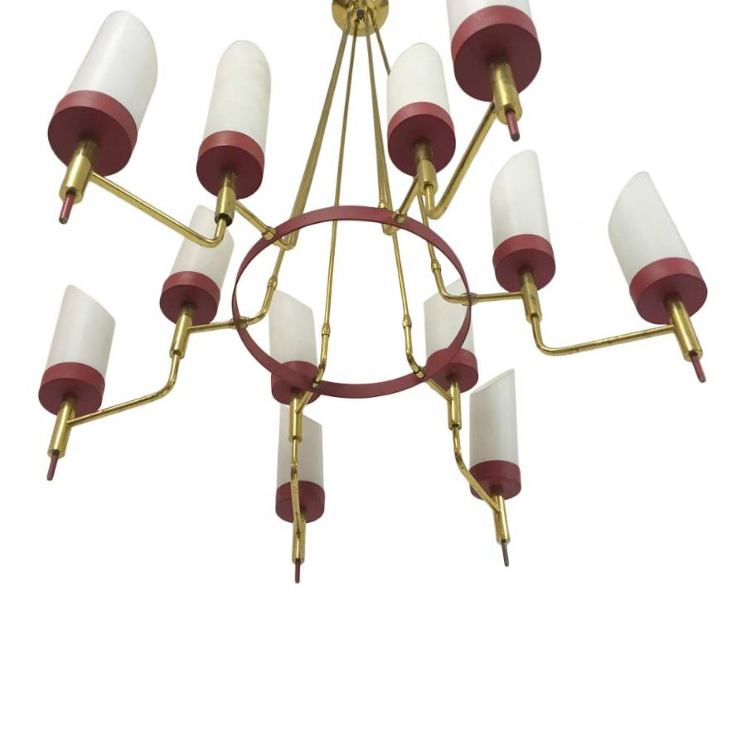 1950s Italian brass and white glass chandelier