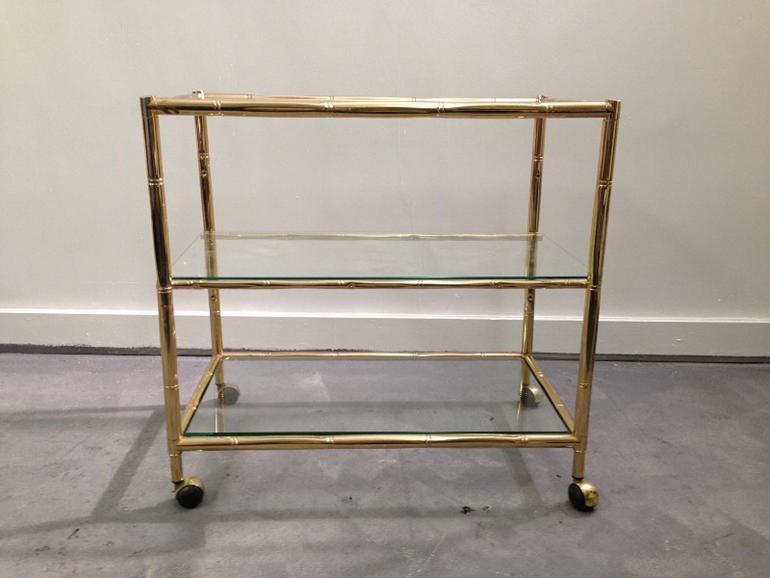 Italian gilt metal bamboo and glass trolley