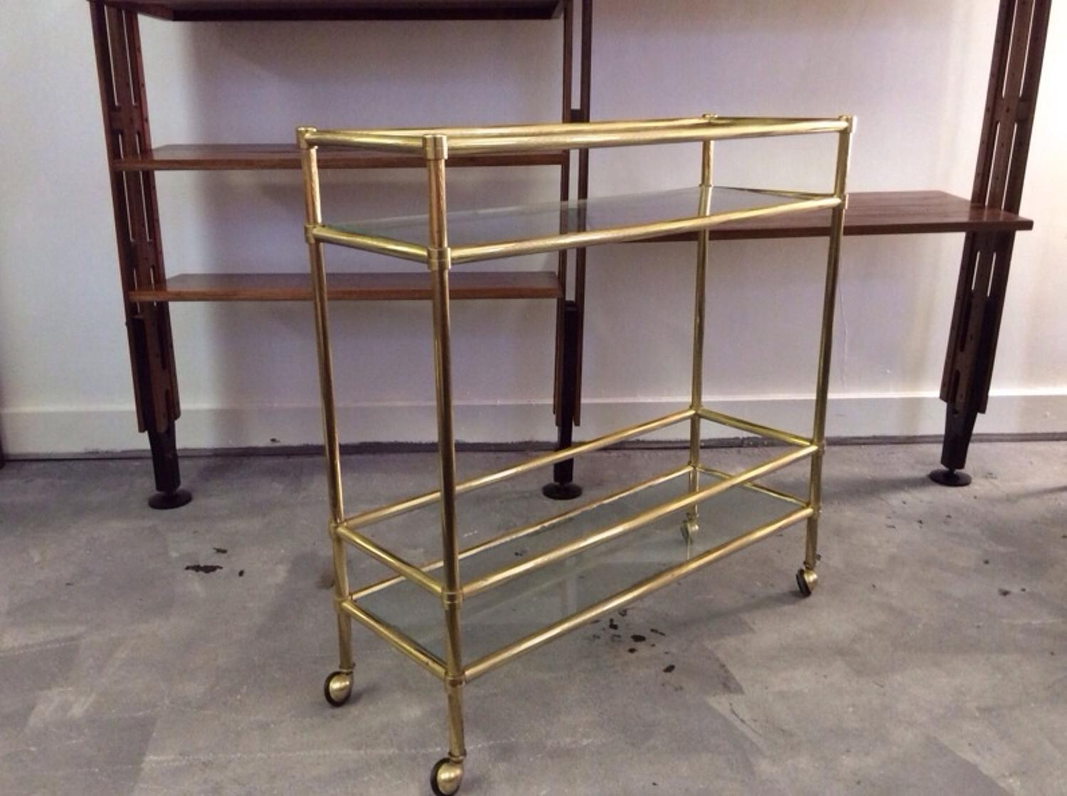 Gilt metal trolley or console table