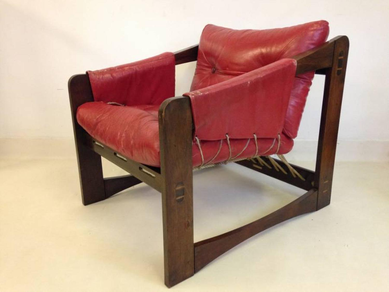 Brazilian jacaranda, leather and rope armchair
