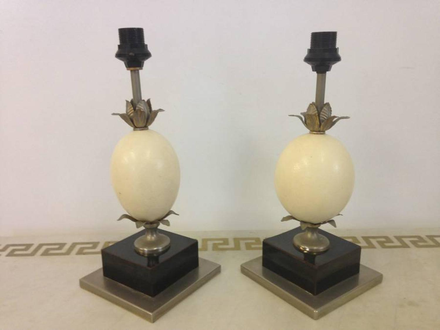 A pair of French ostrich egg and metal lamps
