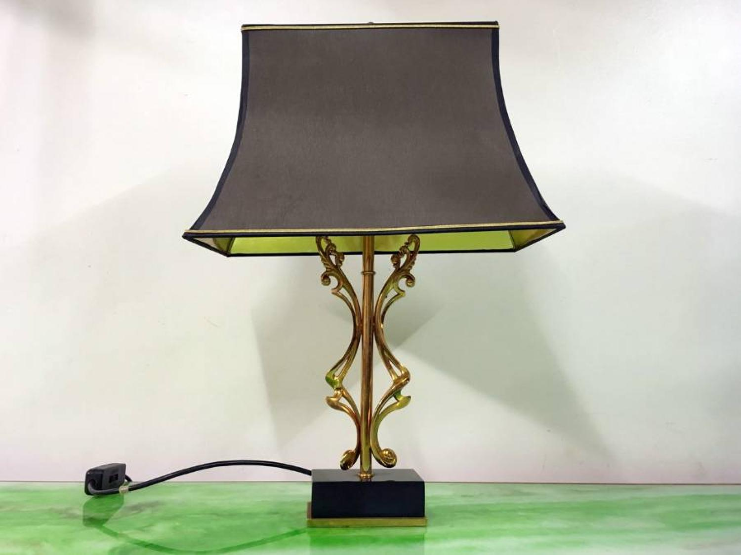 Abstract brass lamp with marble base