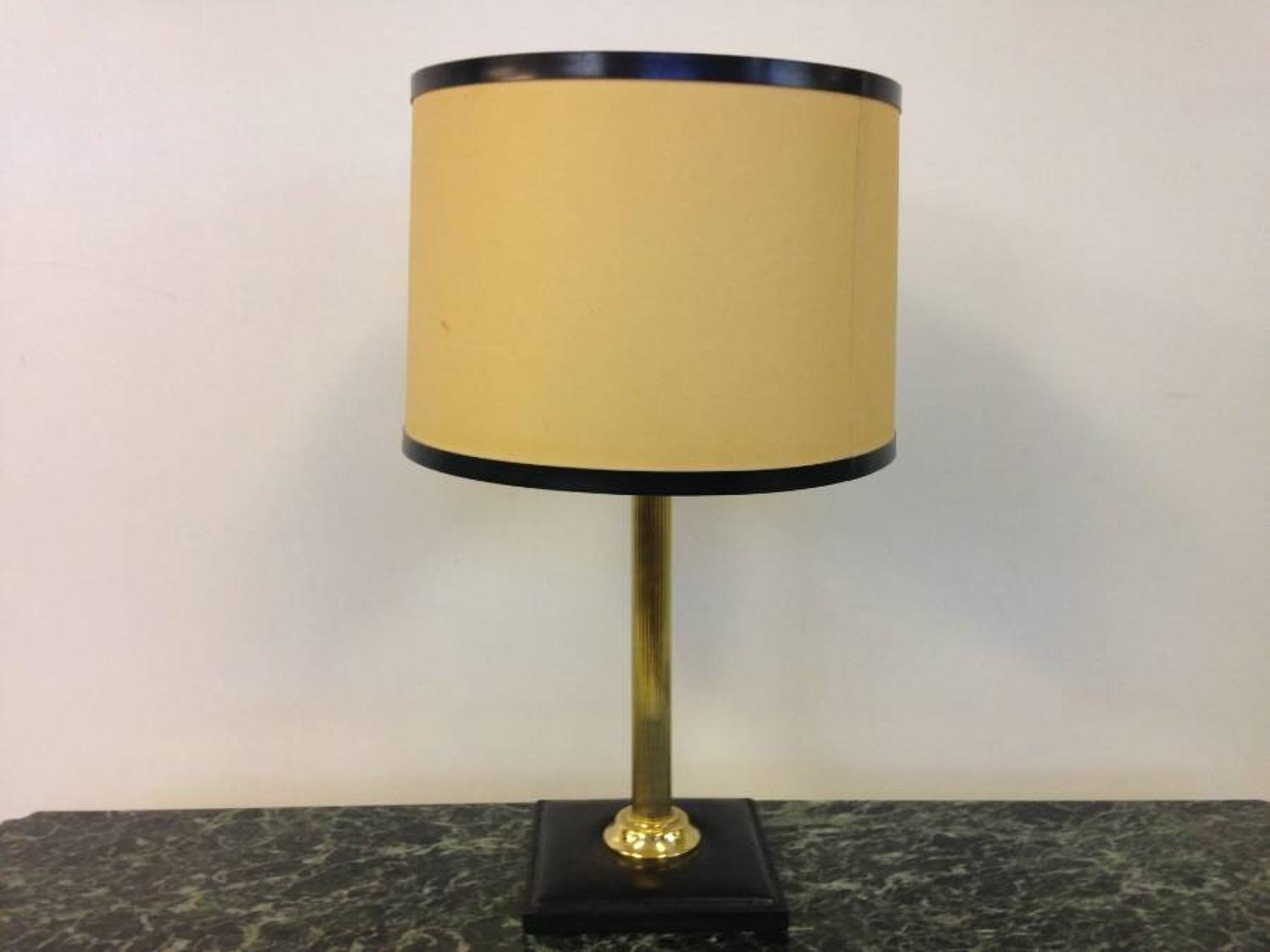 Brass and leather lamp Jacques Adnet style