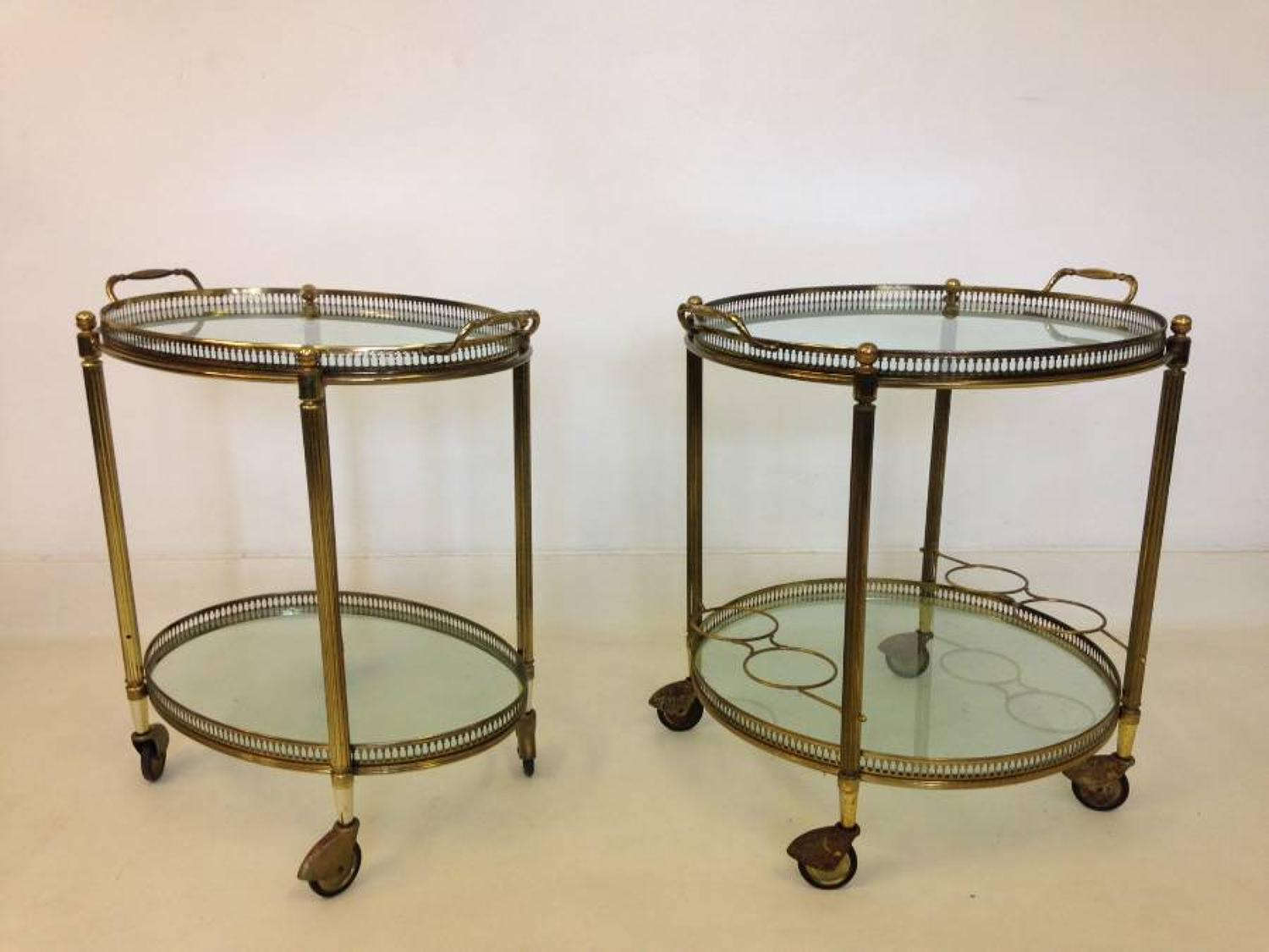 A pair of French brass trolleys