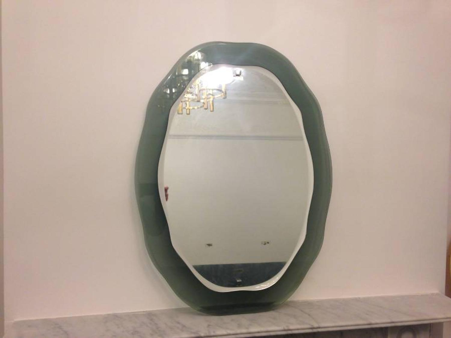 1970s Italian mirror with grey glass border