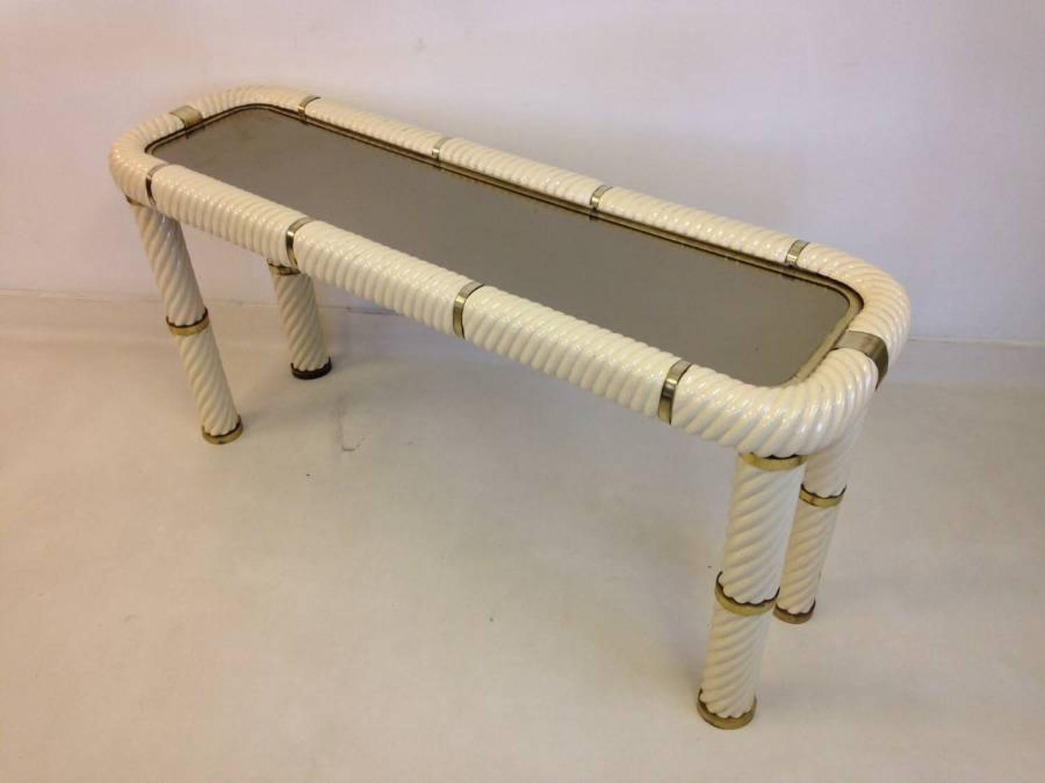 Ceramic and brass console table by Tommaso Barbi