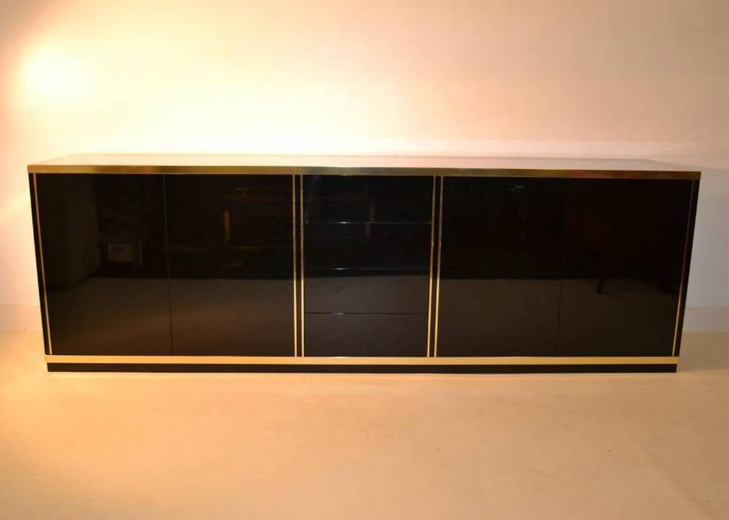 Black laminate and brass sideboard