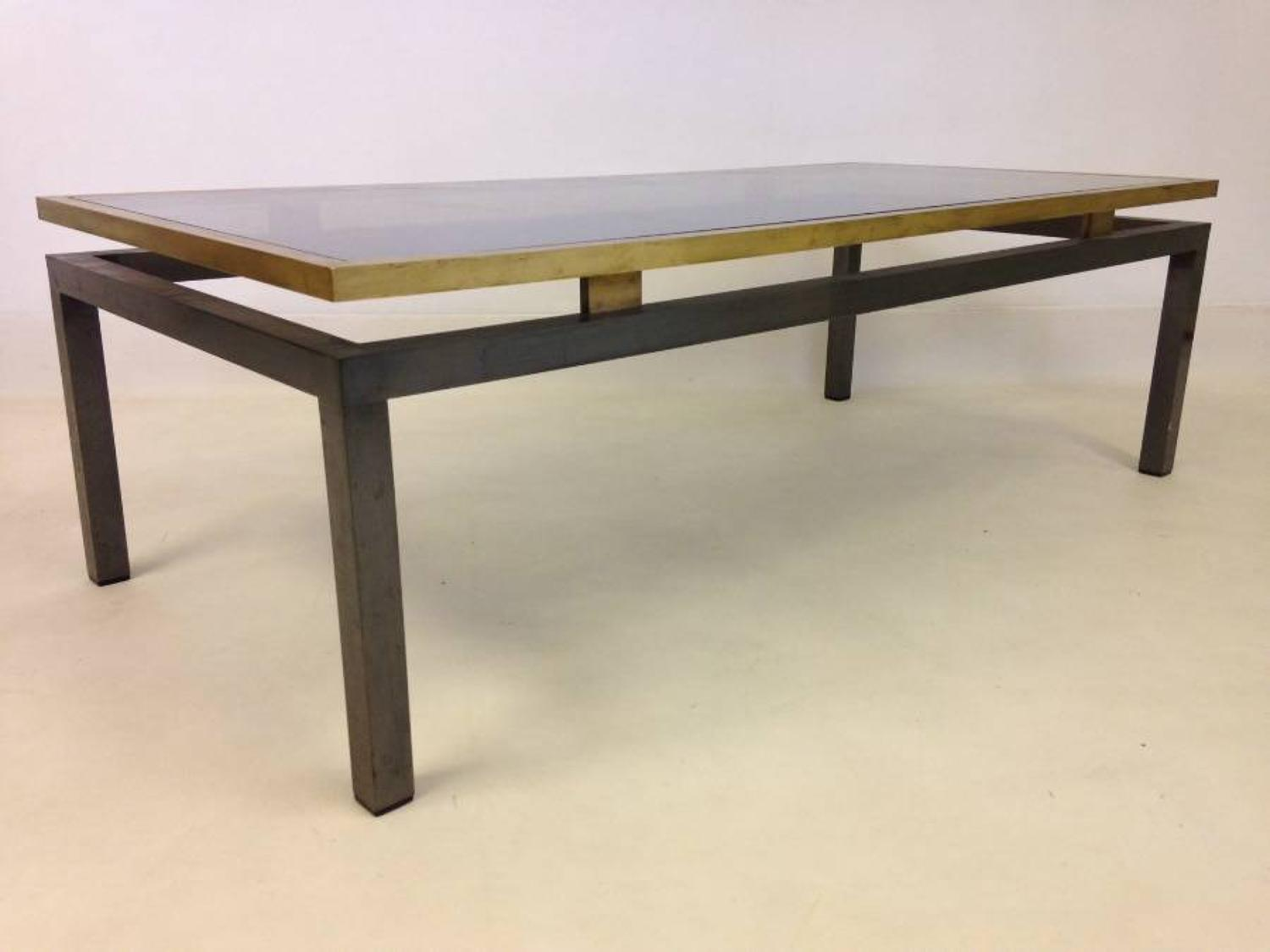 Nickel and brushed brass coffee table