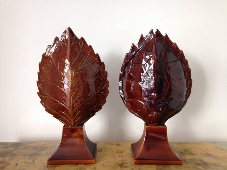 Italian ceramic turtle and leaf table lamps