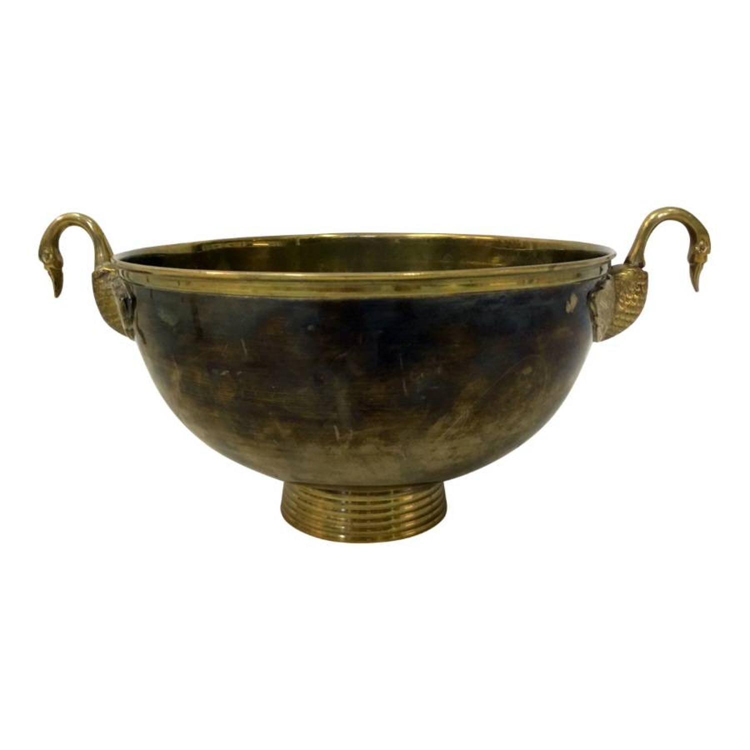 1970s brass bowl with swan handles