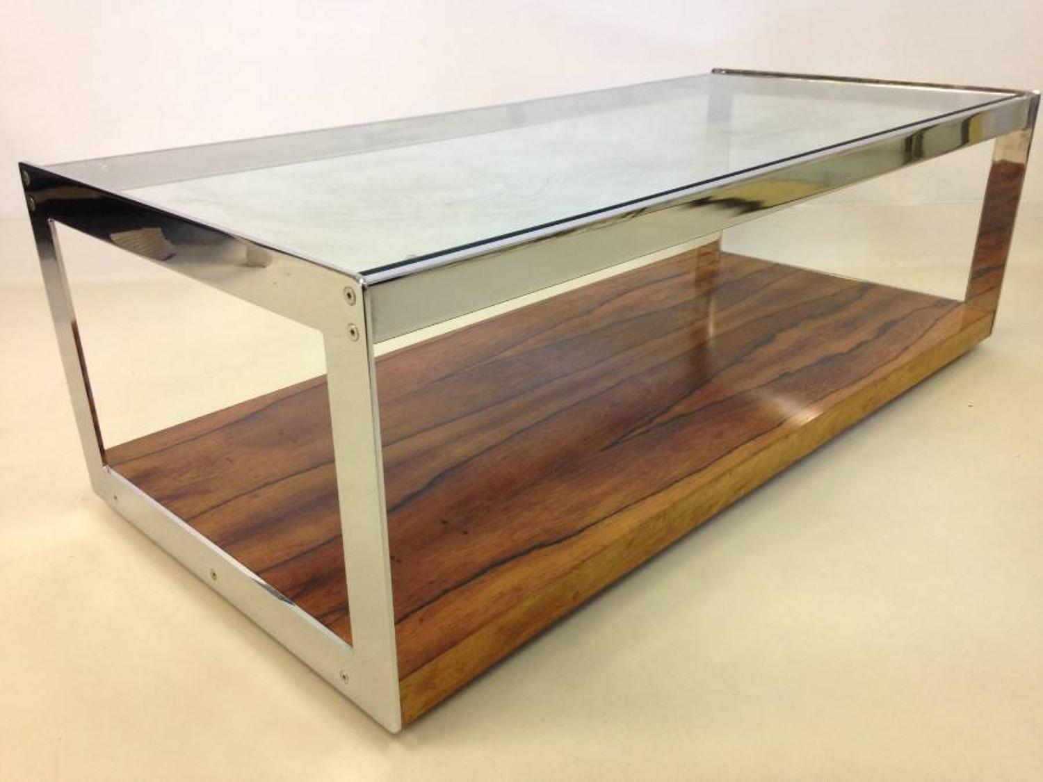Chrome and rosewood table by Merrow Associates
