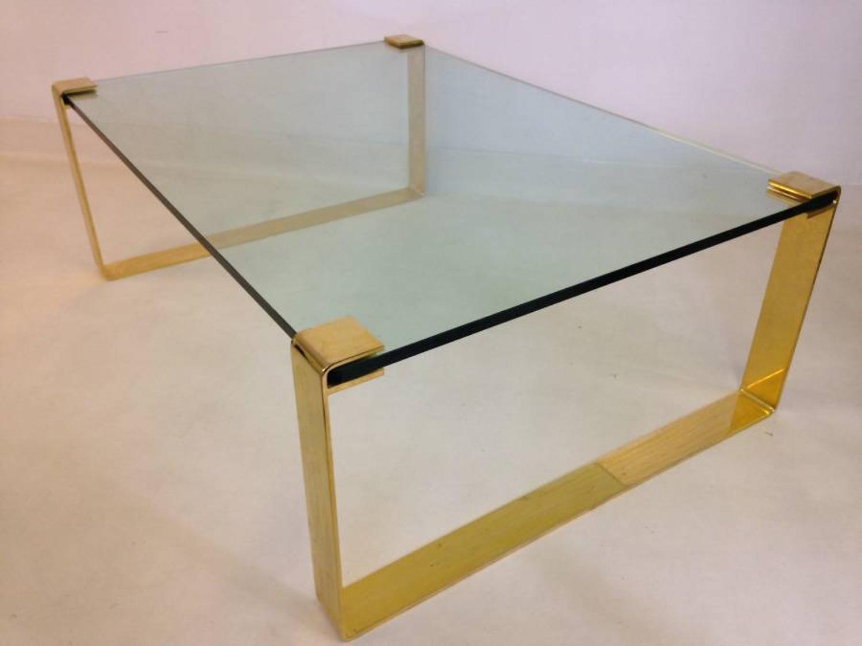 Large gilt metal and glass coffee table