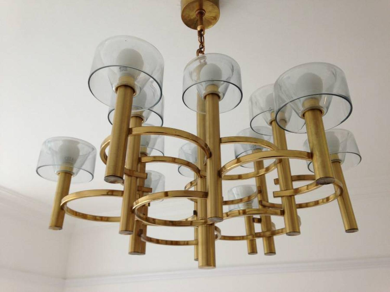 1970s Italian brass chandelier by Sciolari