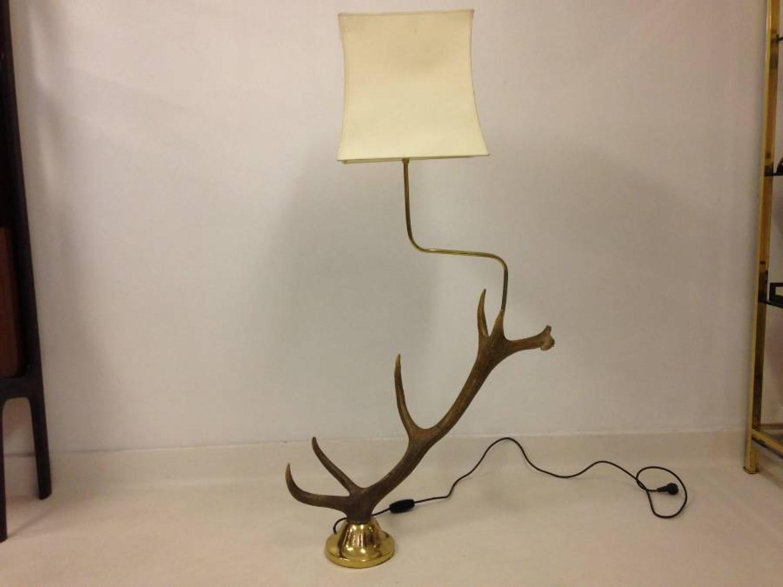 Brass and antler floor lamp
