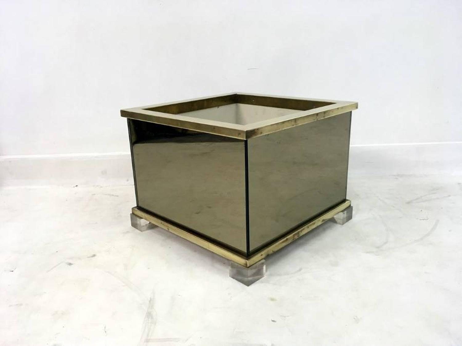 1970s glass, brass and lucite planter
