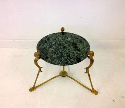 Neo-classical brass and marble side table